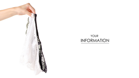 White black female panties in hand lace pattern isolated on a white background.
