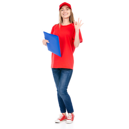 Delivery woman in red uniform isolated on white background