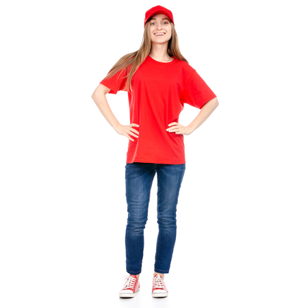 Delivery woman in red uniform isolated on white background Imagens - 114915395
