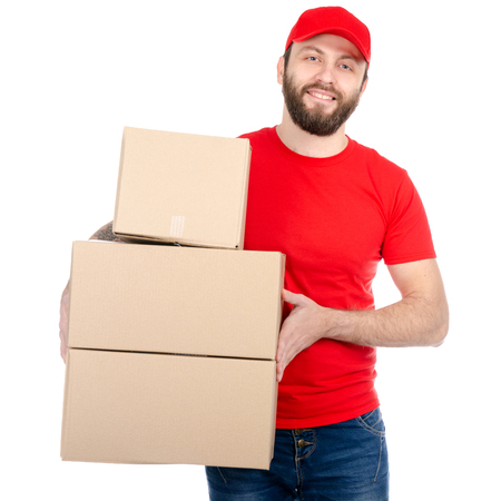 Delivery man in red uniform holding box package isolated on white background
