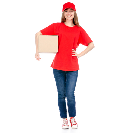 Delivery woman in red uniform holding box package isolated on white background Imagens - 114765953