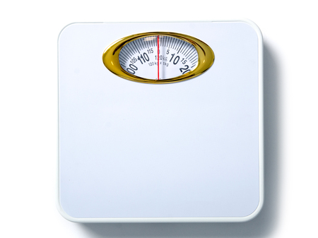 White weighing scale isolated on white background, top view