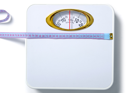 White weighing scale centimeter isolated on white background