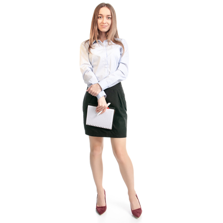 Business woman manager with notepad and pen on white background isolation