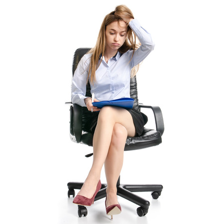 Business woman manager with folder sitting many work hard tired on white background isolation