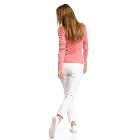 Woman in white jeans and shirt run isolated on white background. Back view