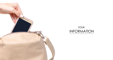 Female beige leather bag in hand smartphone mobile phone pattern isolated on white background. Stock Photo
