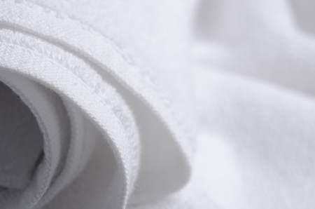 White towel macro fabric material soft bath blur background 写真素材