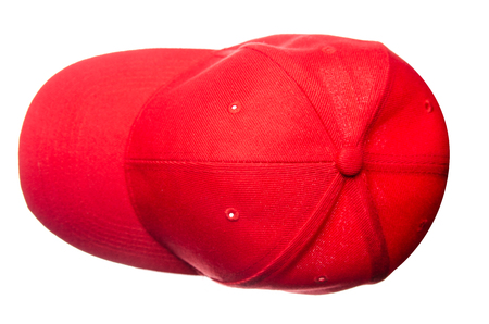 Red cap isolated on white background, top view Stockfoto