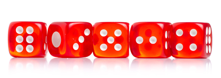 Dices red game on white background isolation
