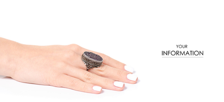 Ring jewerly bijouterie on hand pattern on white background isolation