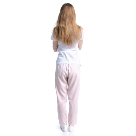 Woman in white t-shirt standing isolated on white background, back view