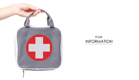 First-aid kit bag in hand pattern isolated on a white background Stock Photo