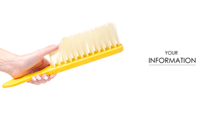 Brush cleaning in hand pattern isolated on a white background