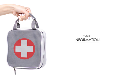First-aid kit bag in hand pattern isolated on a white background Standard-Bild
