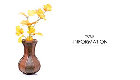 Wooden vase autumn leaves pattern on white background isolation