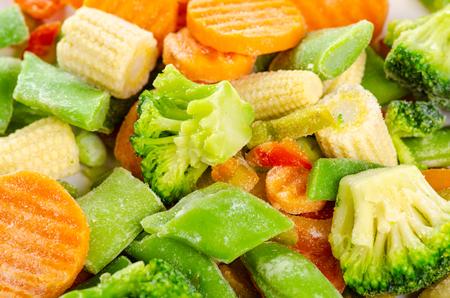 Frozen vegetables macro broccoli, carrots, green beans, peppers, mini corn Zdjęcie Seryjne