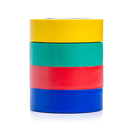 Colored electrical tape isolated on a white background.