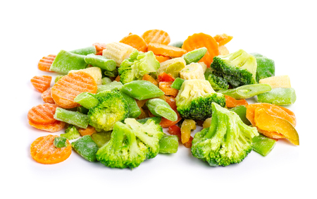 Frozen vegetables organic isolated on a white background.