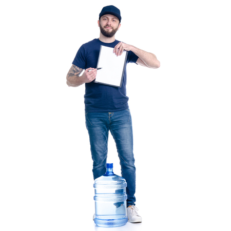 Water delivery man in blue t-shirt and cap in hand document invoice signature on white background isolation