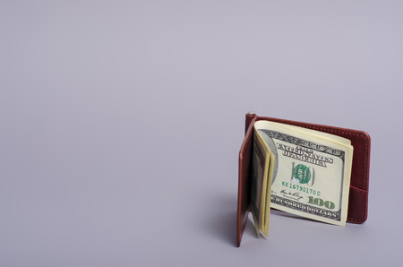Purse money clip with dollars on gray background