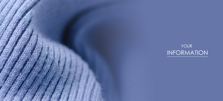 Fabric warm blue sweater textile material texture pattern blur background macro