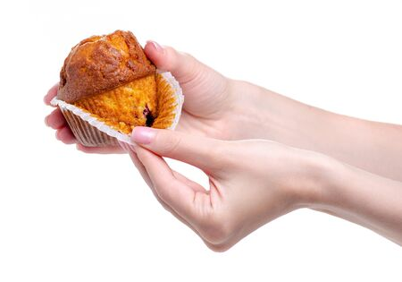 Muffin sweet bakery in hand