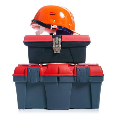 tool box and helmet