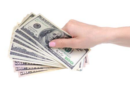 Money dollars in hand