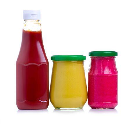 ketchup, horseradish, mustard on white background isolation Stock Photo