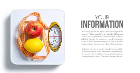 The weighing scale centimeter apple lemon pattern on a white background isolation