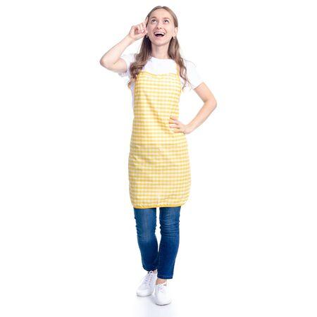Woman in yellow apron smile got idea