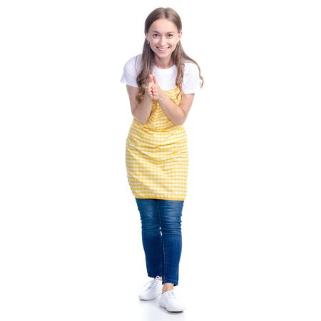 Woman in yellow apron smile got idea