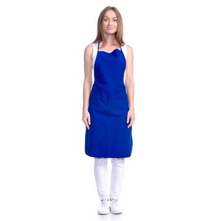 Woman in blue apron smile Foto de archivo