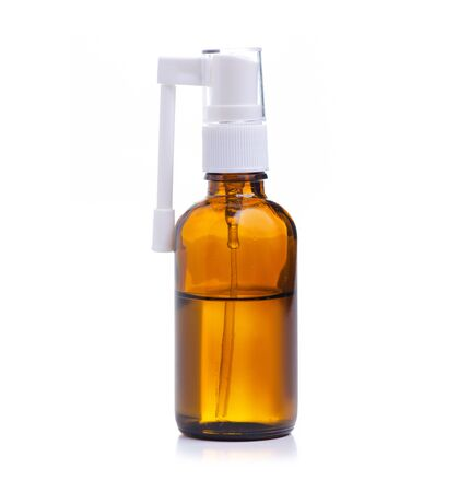 Throat spray medicine on white background isolation