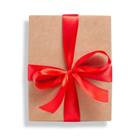 Box with red ribbon bow gift Reklamní fotografie - 145817395