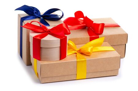 Many boxes with ribbon gift Standard-Bild