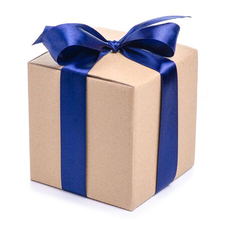 Brown box with blue ribbon bow gift Standard-Bild