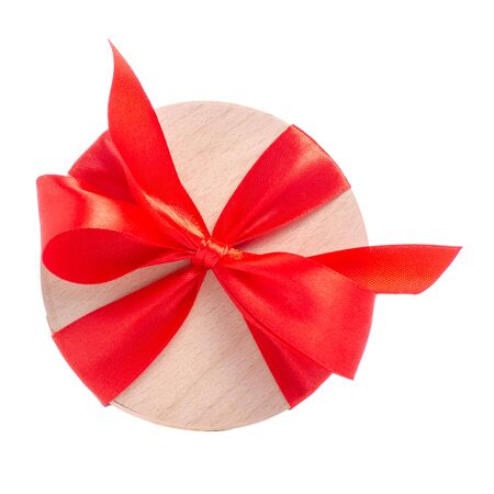 Box with red ribbon bow gift
