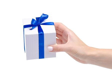 White box with blue ribbon bow gift in hand