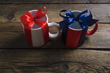 cups mugs with ribbon bow gift