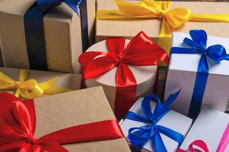 Many boxes with ribbon bow gift