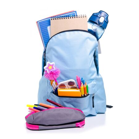 Blue backpack with school supplies Reklamní fotografie - 145817470