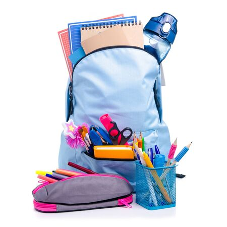 Blue backpack with school supplies Reklamní fotografie - 145817471