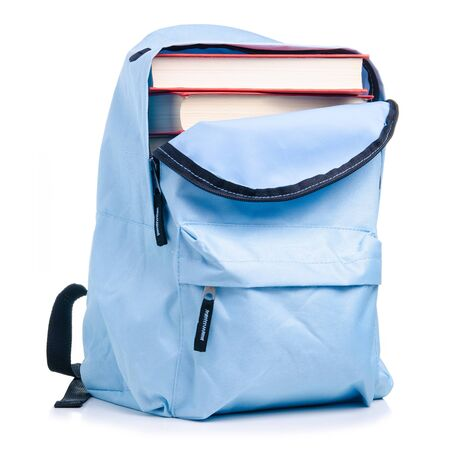Blue backpack with books education on white background isolation