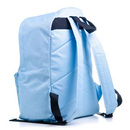 Blue school backpack on white background isolation Stockfoto