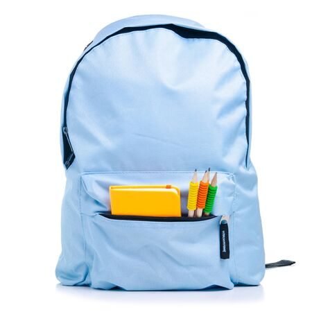 Blue backpack with school supplies on white background isolation