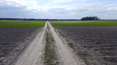 The road to the clouds, passes through a plowed field. The Ukrainian Plains