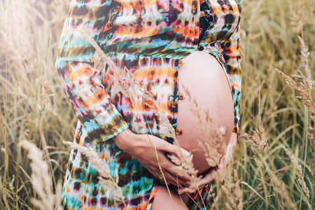 Tender portrait of a Pregnant belly of a girl in nature.