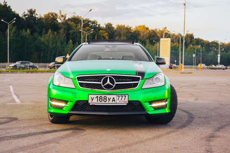 MOSCOW, RUSSIA-SEPTEMBER 09, 2017: Luxury Mercedes-Benz C-class Coupe AMG, in green matte film. Redakční